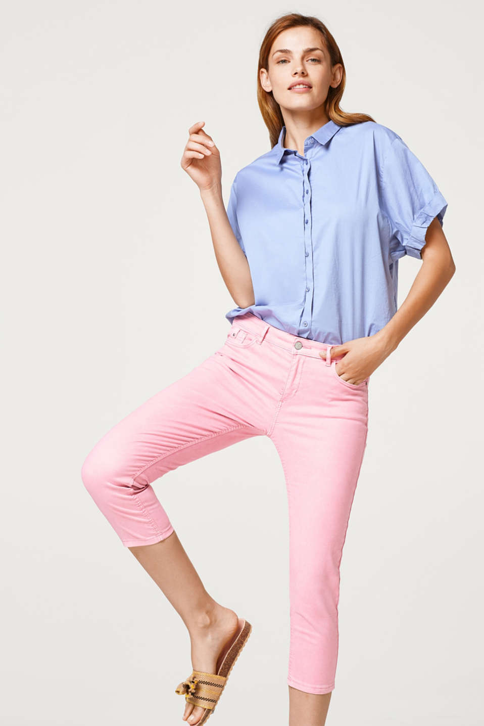 Esprit - Capri-Pants aus softem Baumwoll-Stretch-Mix