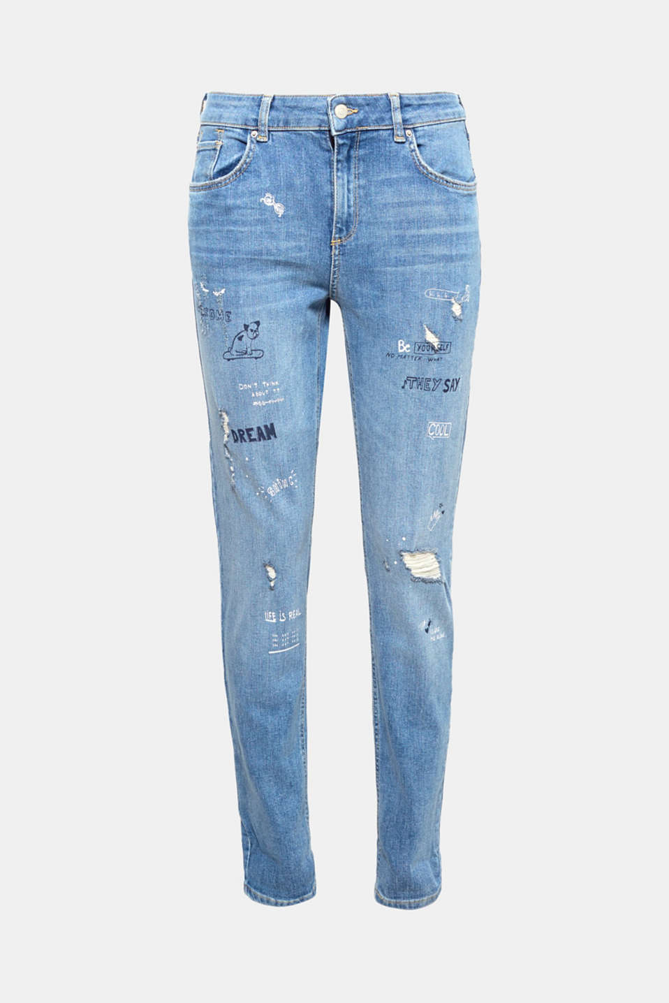 There's lots going on with these jeans: statement prints and vintage effects create an exciting trendy look!