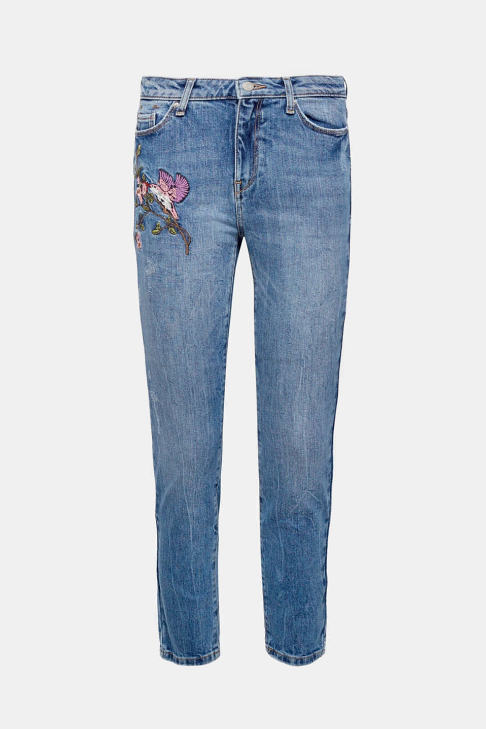 With a pre-washed and distressed finish + floral embroidery: five-pocket jeans made of a comfy and stretchy blended cotton.