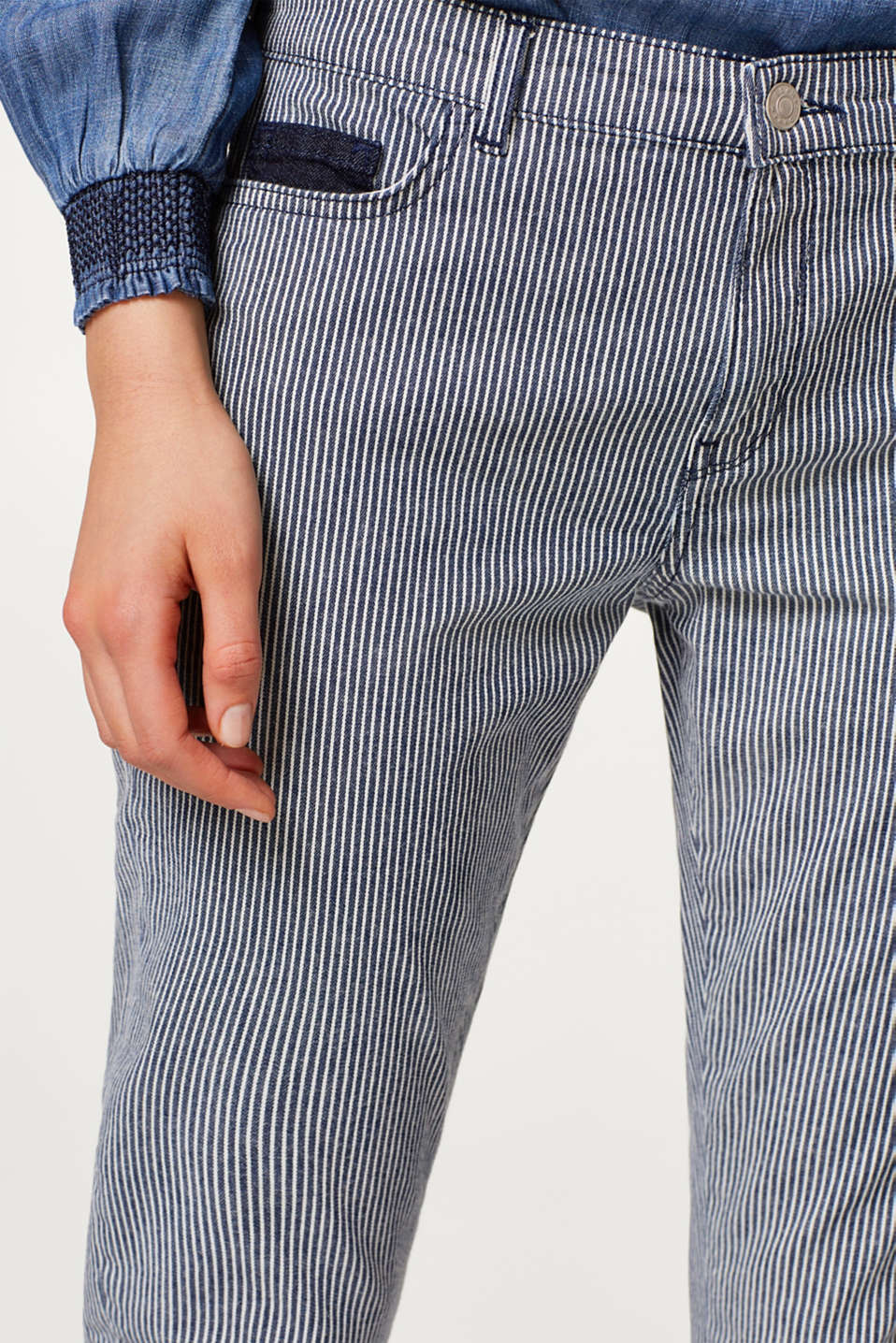 Striped stretch jeans