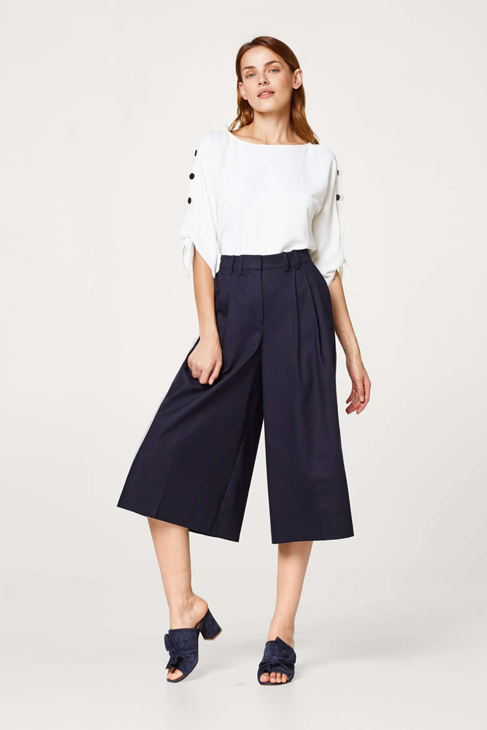 Jupe-culotte à pinces, coton/stretch