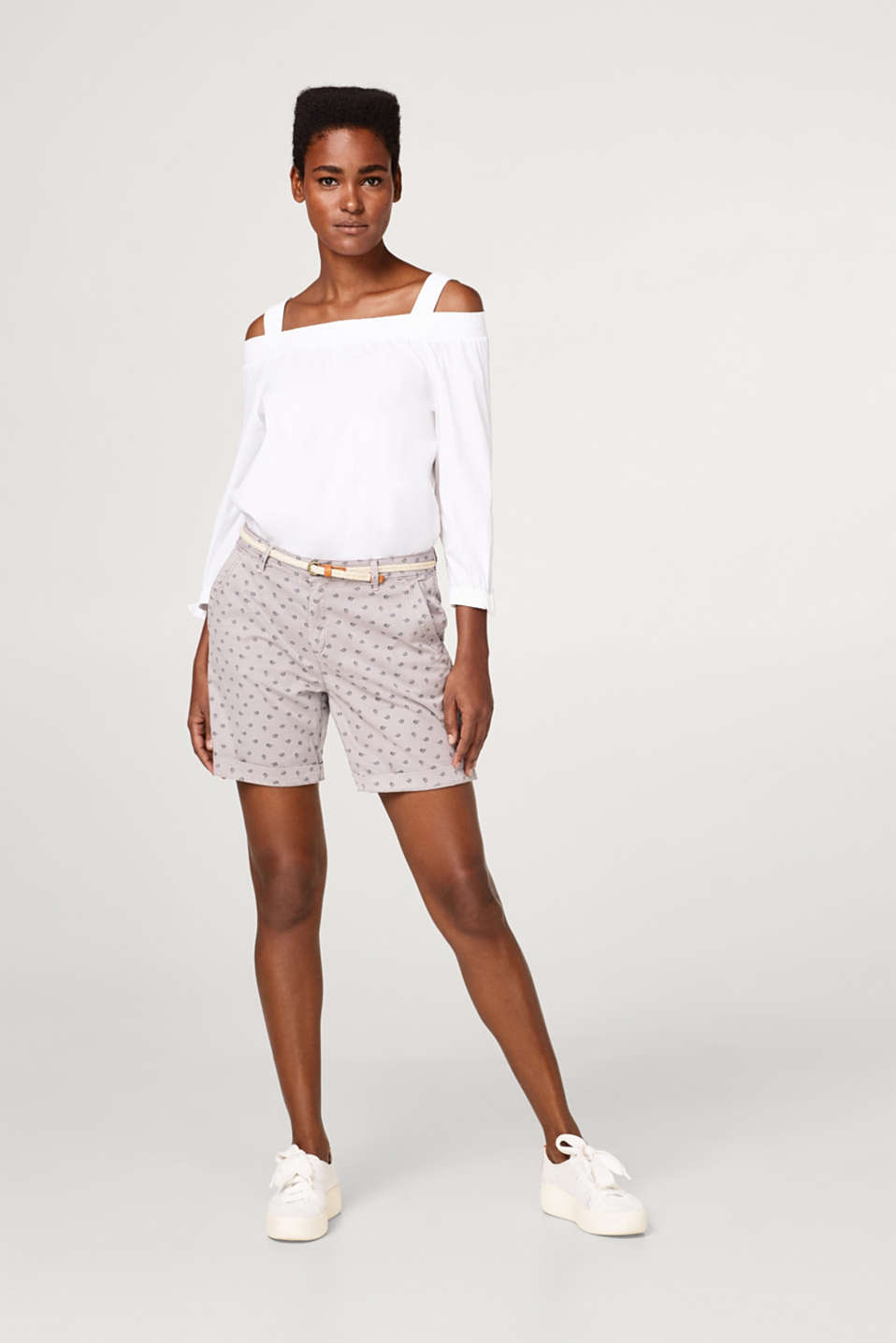 Stretch cotton shorts with a minimalist print