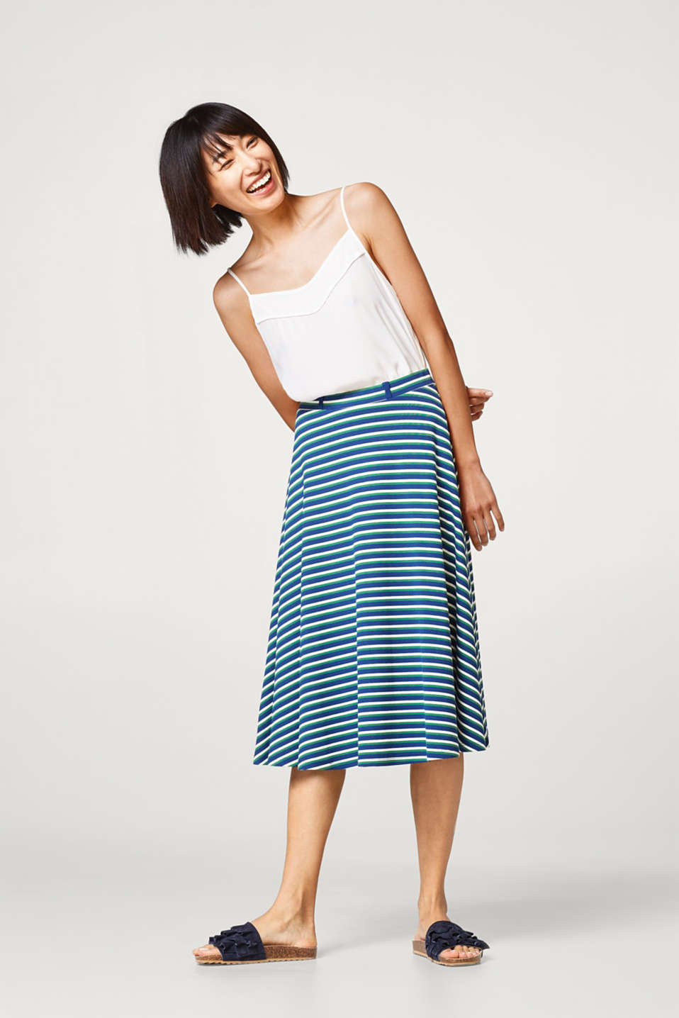 Esprit - Swirling midi skirt in firm jersey
