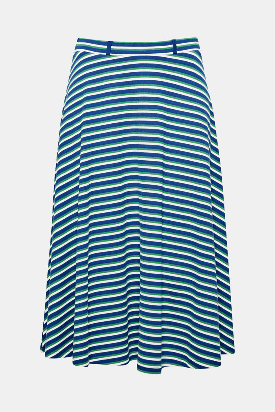 Beautifully swirling: this wide flared skirt in beautifully draped stretch jersey will lift your mood with its stripes!