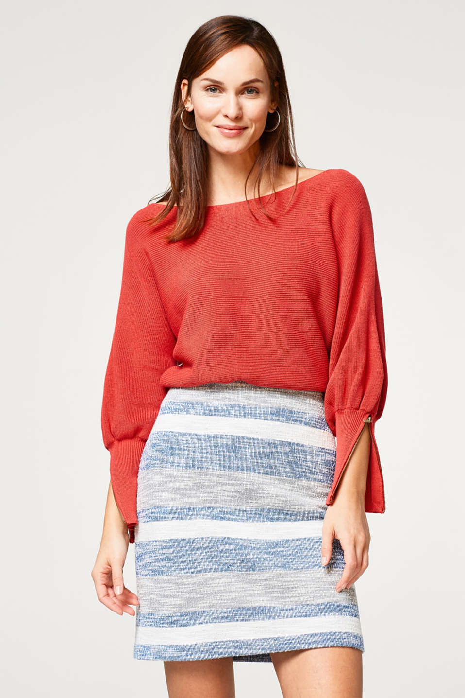 Esprit - Textured jersey skirt with block stripes