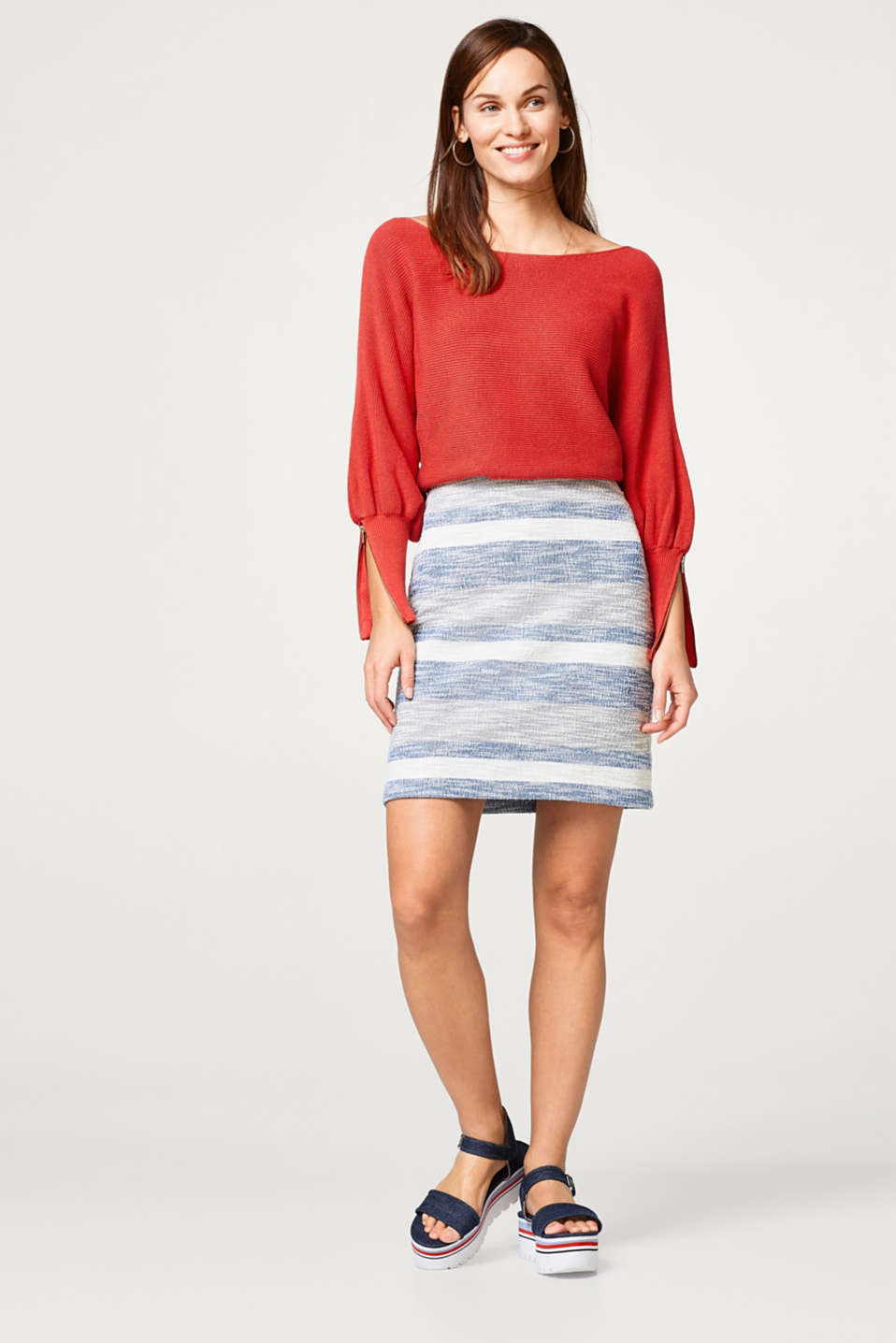 Textured jersey skirt with block stripes