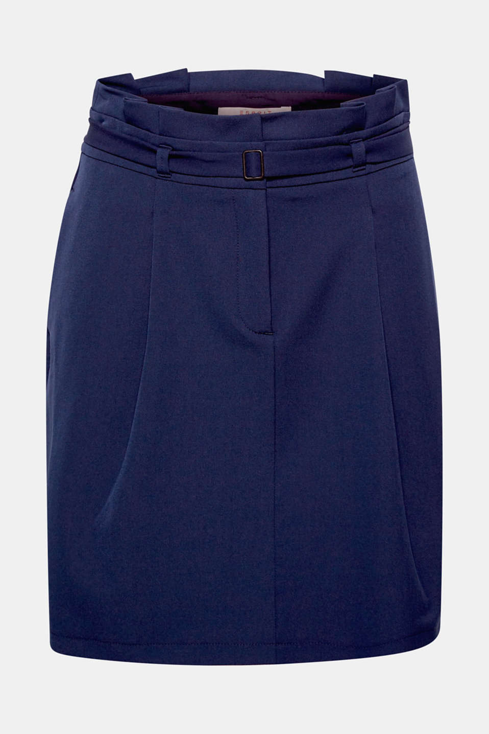 Cutting edge and chic: comfy, stretchy skirt with a trendy, pleated paper-bag waistband and a belt!