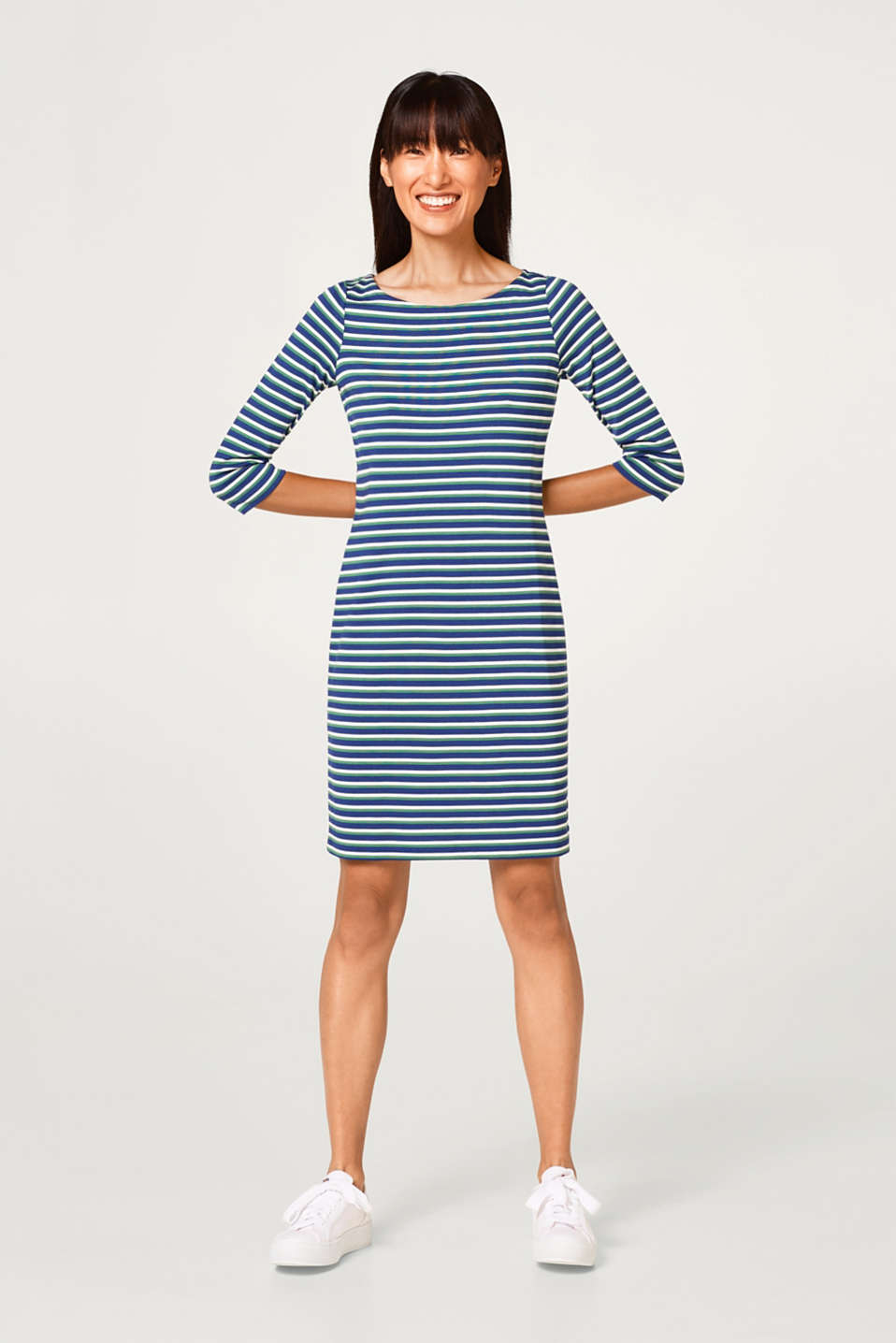 Esprit - Stretch jersey dress with multi-coloured stripes