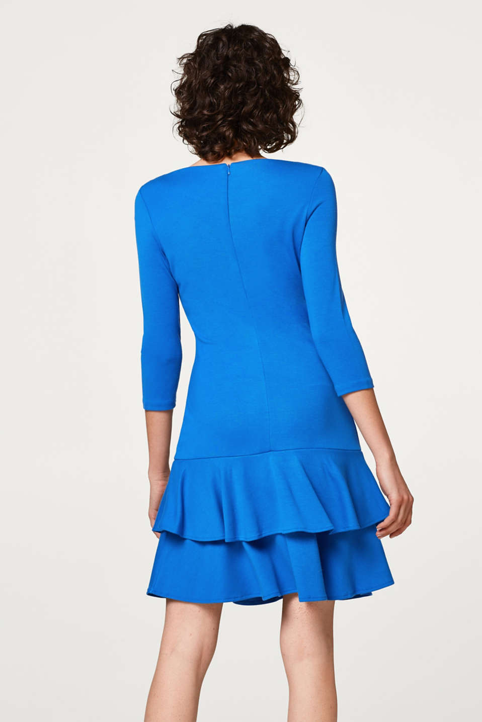 Jersey mini dress with a flounce trim at the hem
