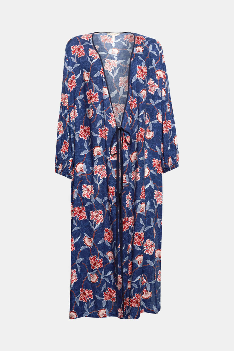 The feminine wrap-over effect, the lightweight fabric and the bright flower pattern give this kimono dress its spring-like charm!