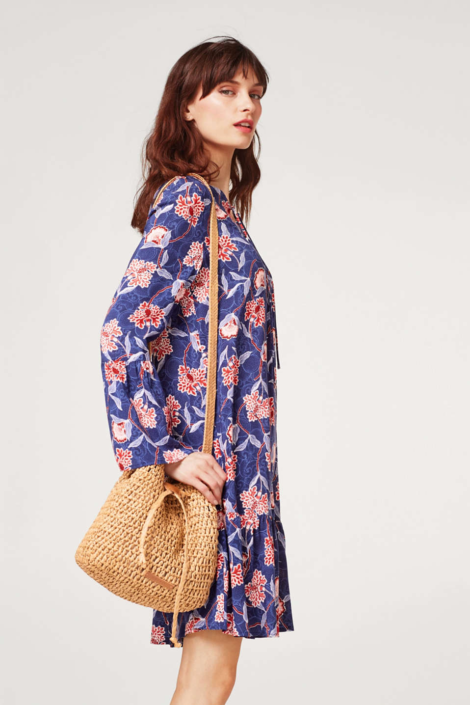 Lightweight printed dress with flounce details