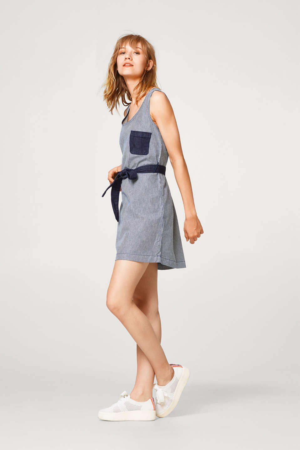 Denim dress in a striped look