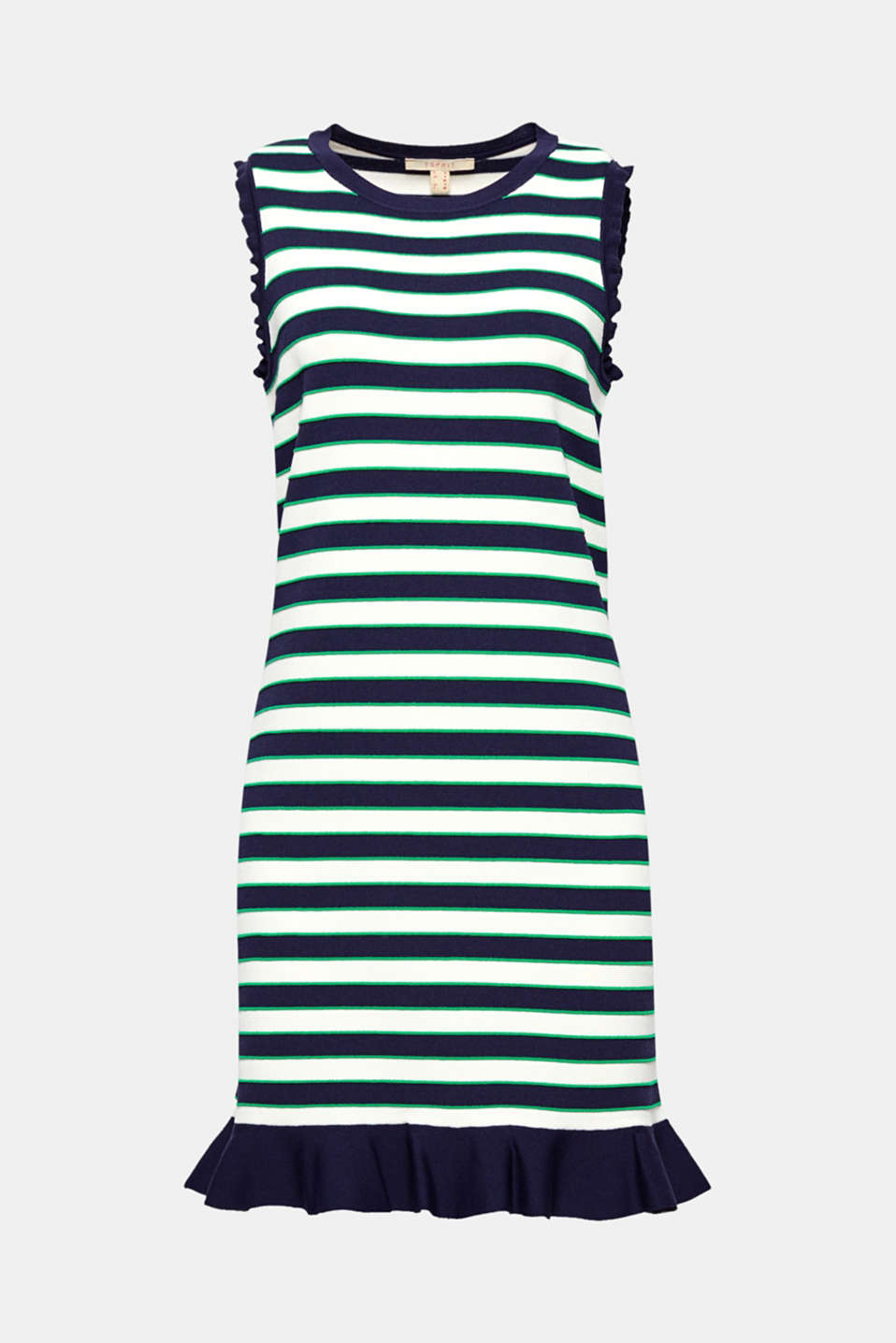 Sporty textured stripes and pretty flounces on the armholes and hem give this firm fine knit dress an exciting look!
