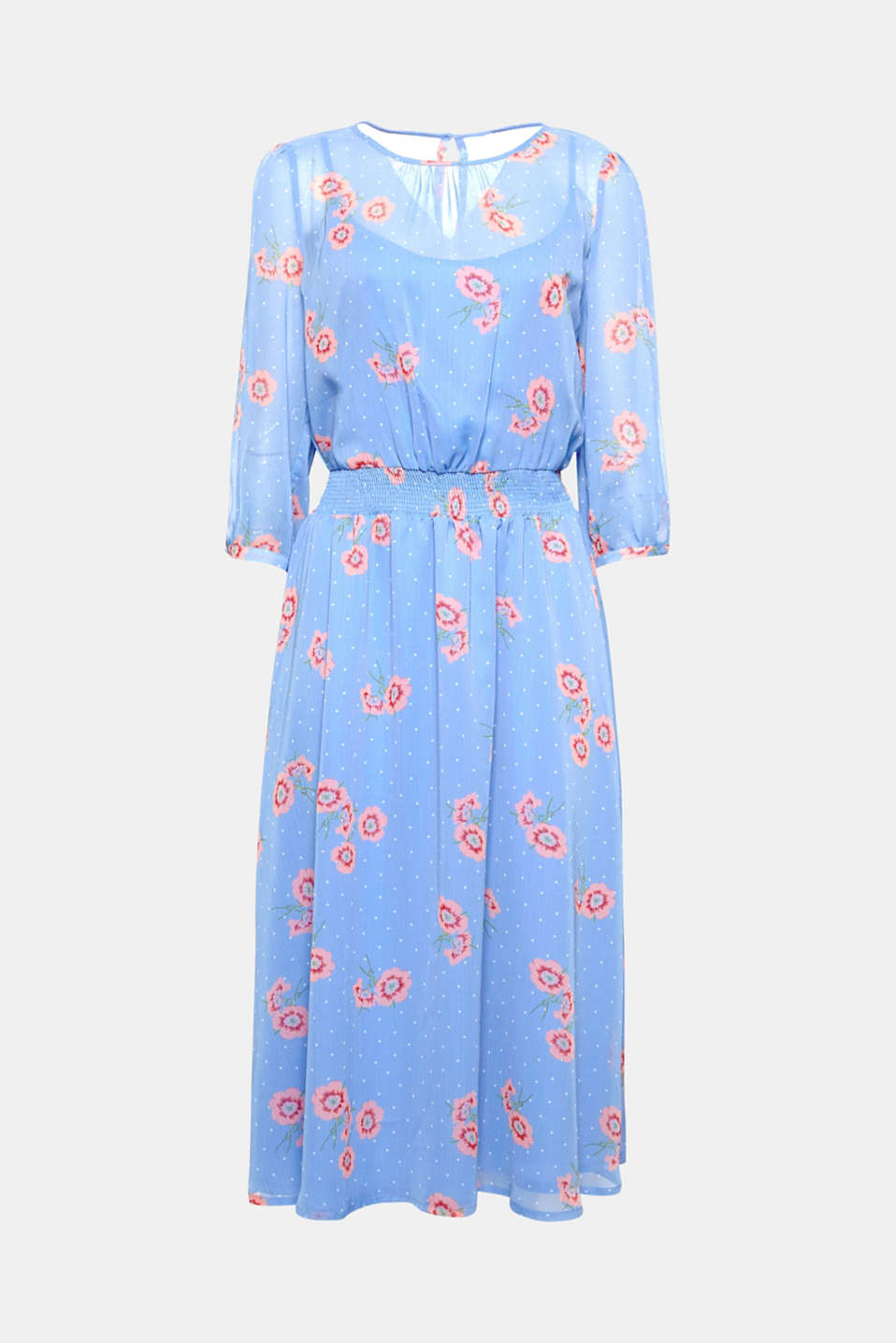 For your ultimate feminine look – or simply a great summer day: Chiffon dress in trendy midi length with a decorative all-over print and slit sleeves!