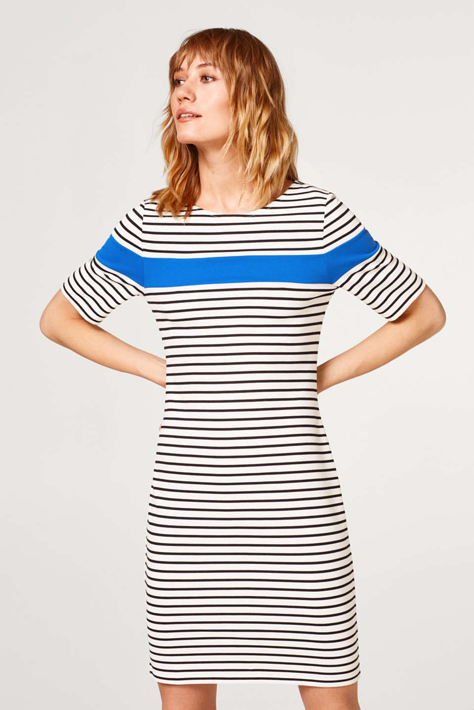 Esprit - Stretch jersey dress with horizontal stripes