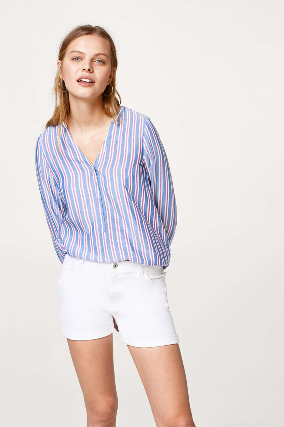 Esprit - Striped blouse with a Henley neckline