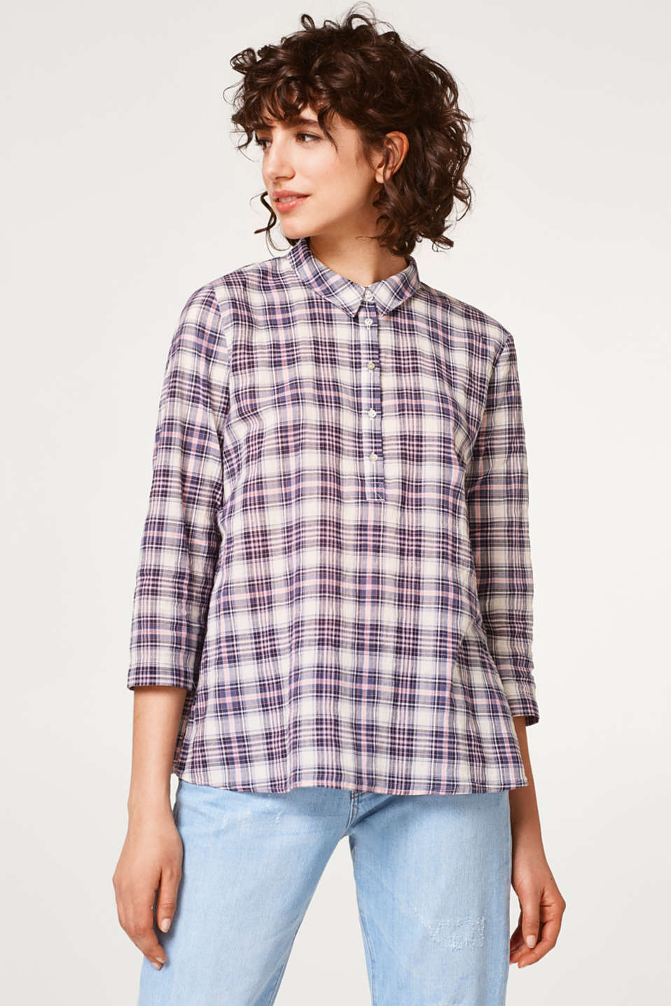 Esprit - Airy check blouse with pleats on the back