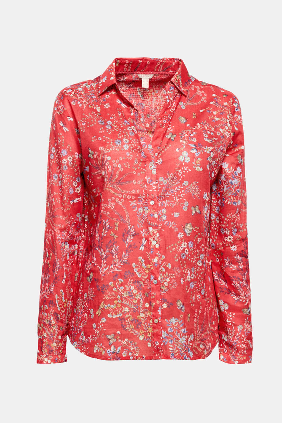 Easy to wear: The modern floral print gives this shirt blouse made of pure cotton a fresh look.