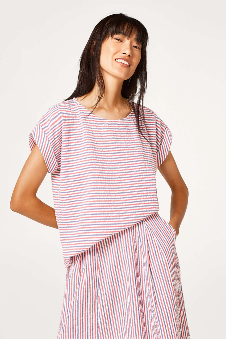 Esprit - Seersucker blouse in a nautical look, 100% cotton