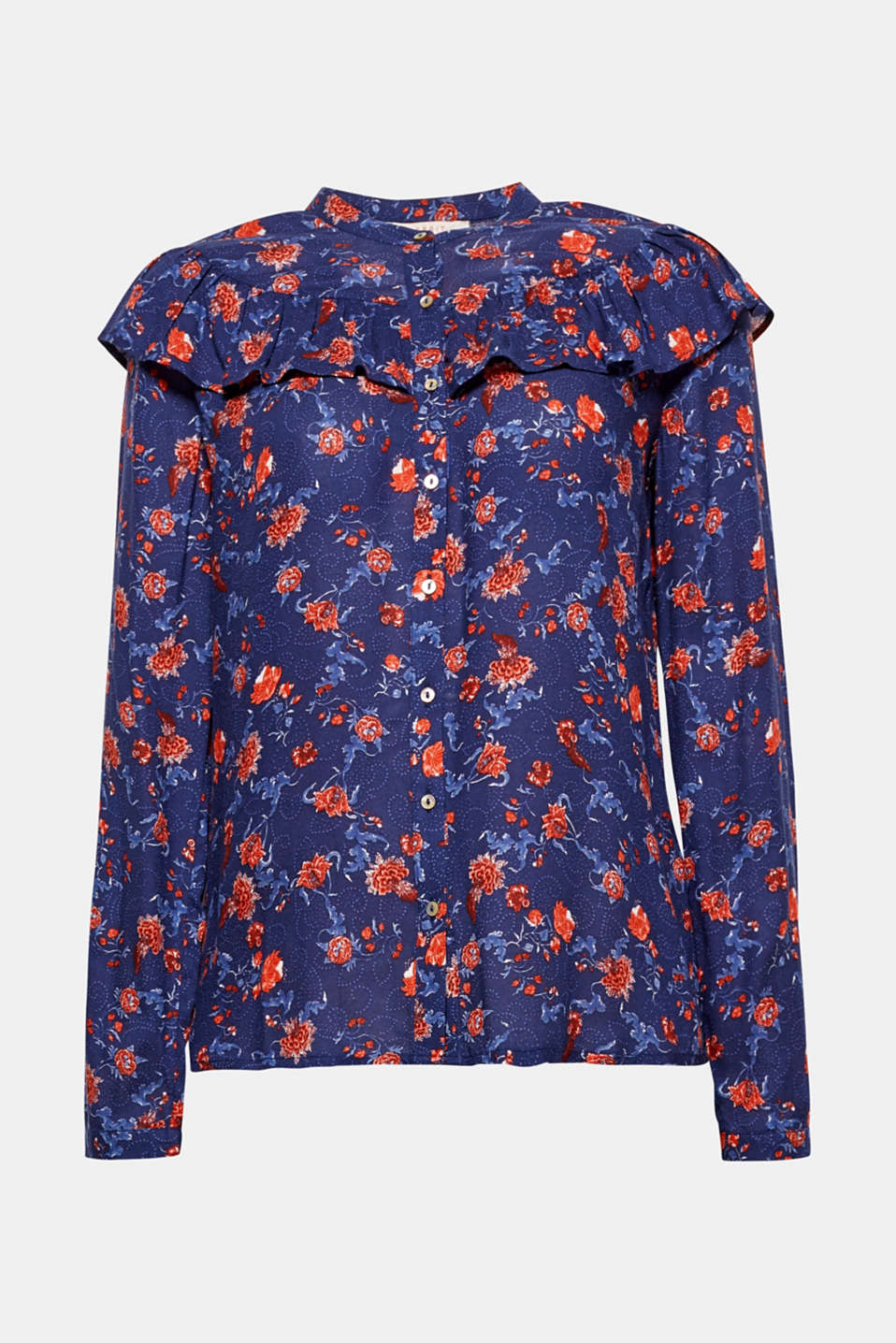 Romantic, feminine and with fine details, this blouse enchants us with a decorative all-over print and frilly accents.