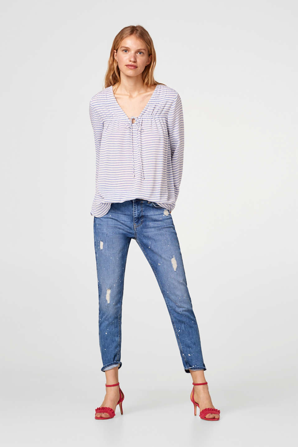 Lightweight striped blouse with ties