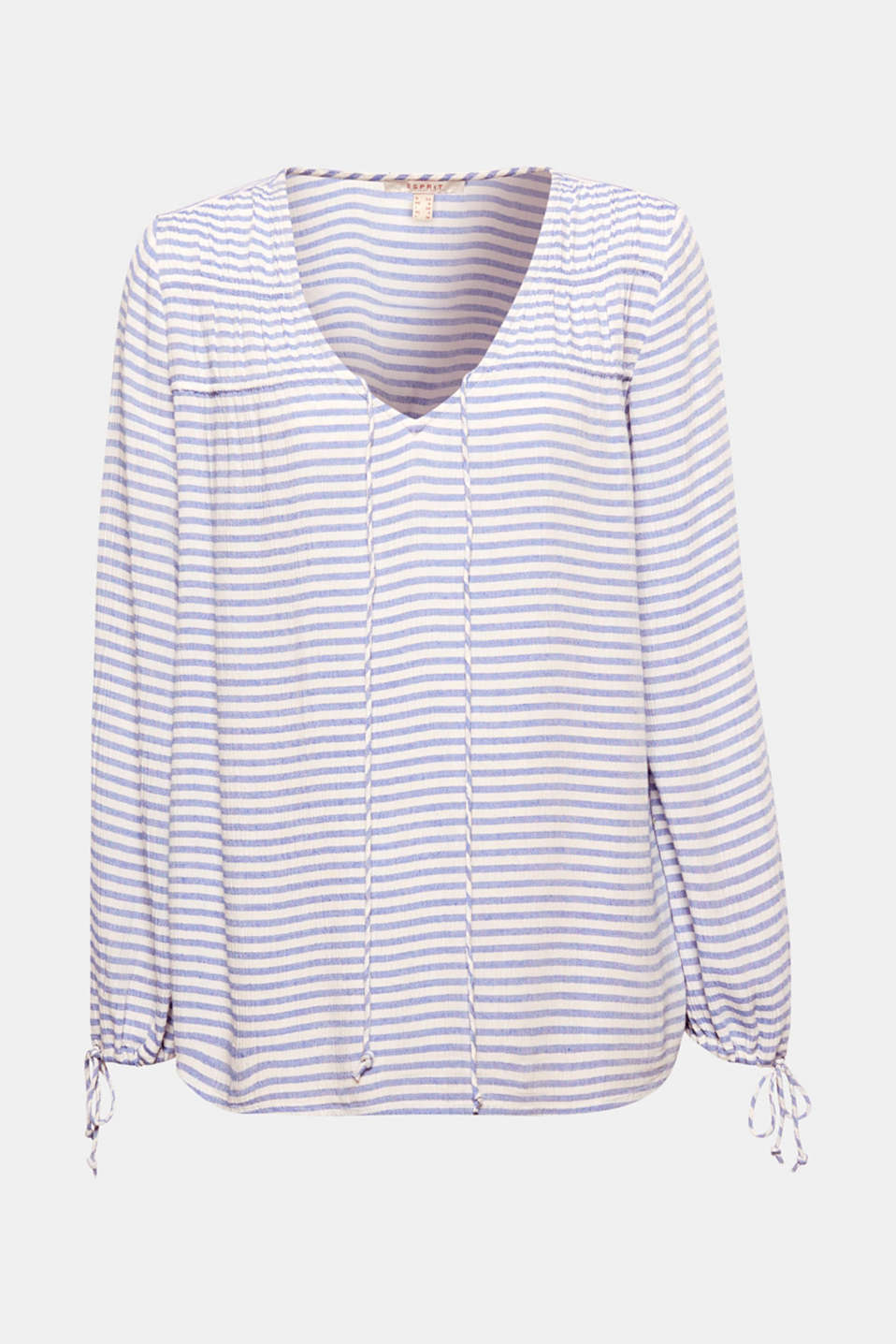 Ultra casual, this lightweight striped blouse is embellished with pretty ties at the neckline and sleeve ends!