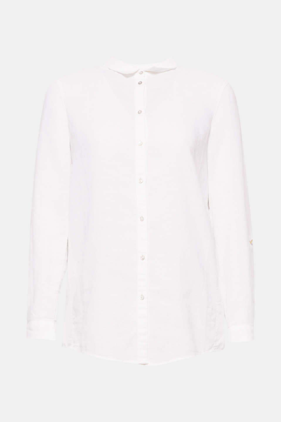 Blouse in cool blended linen with turn-up sleeves, a classic shirt collar and a rounded hem