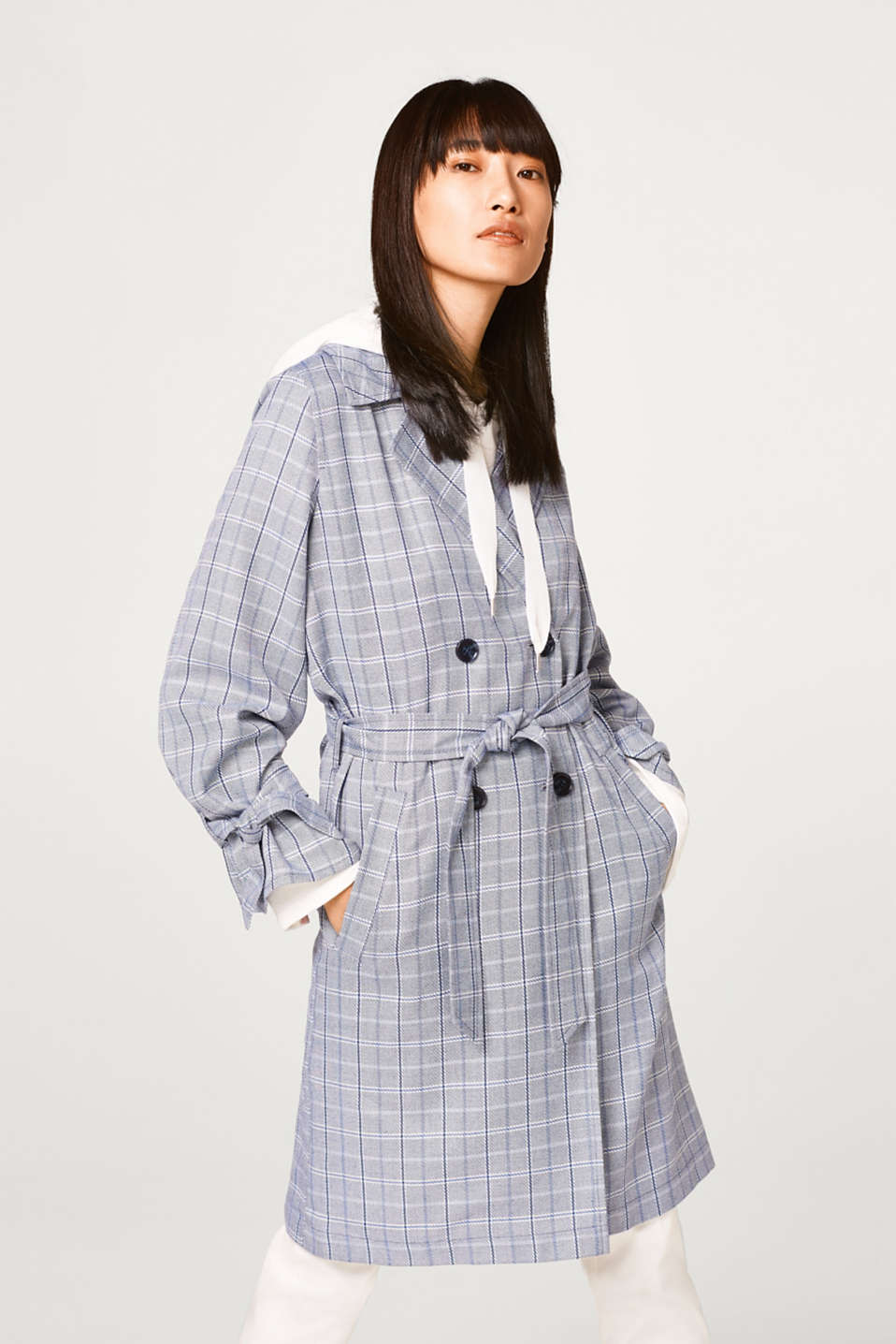 Esprit - Soft trench coat with a check pattern