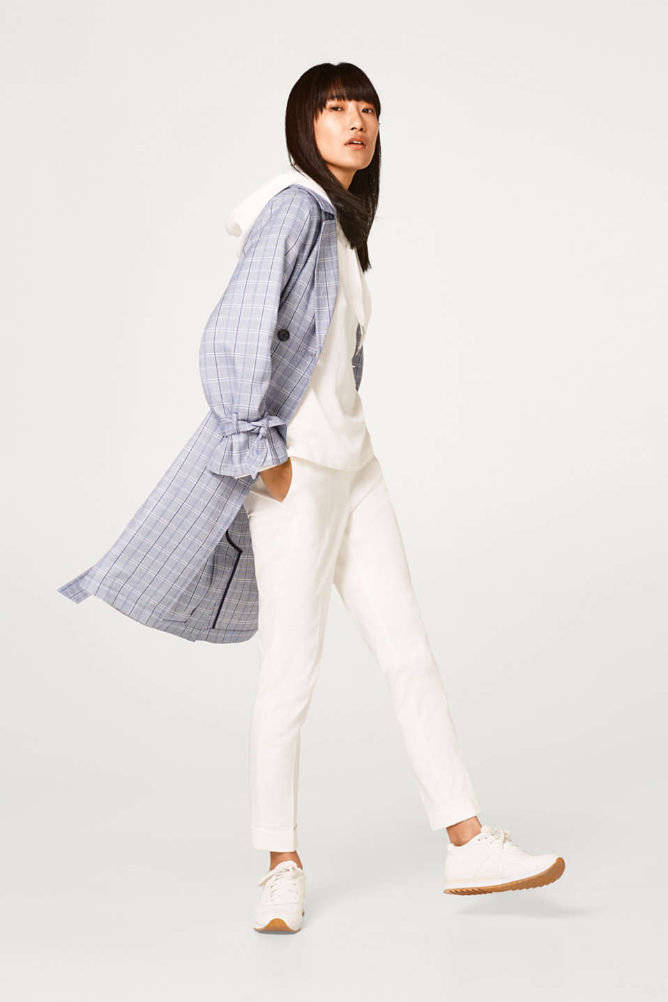 Soft trench coat with a check pattern