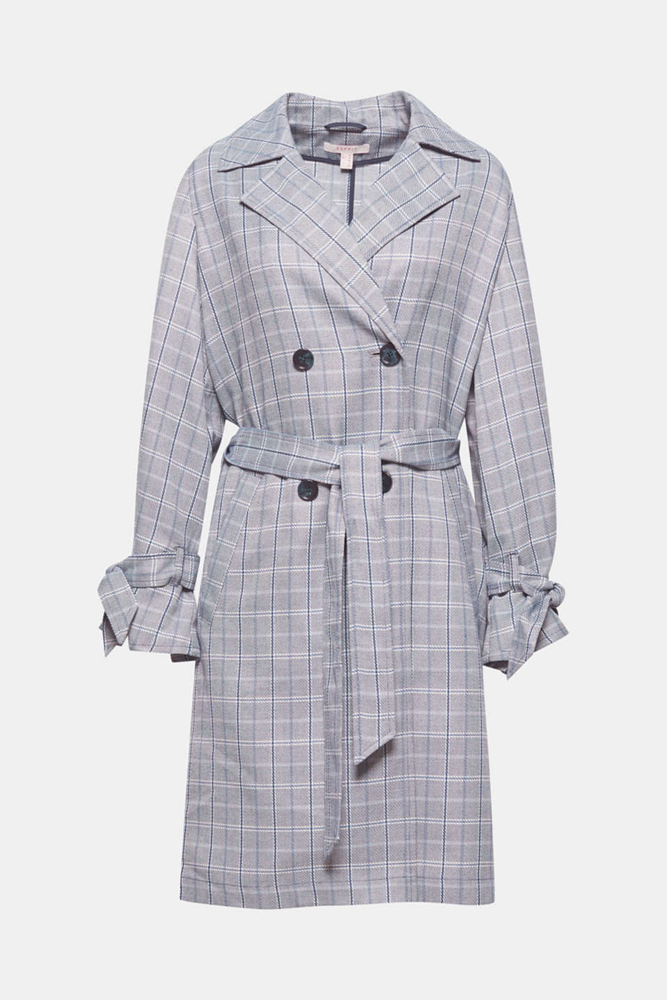 In a trendy checked look and made of a soft woven fabric, this trench coat is a stylish and functional solution for the transition between seasons.