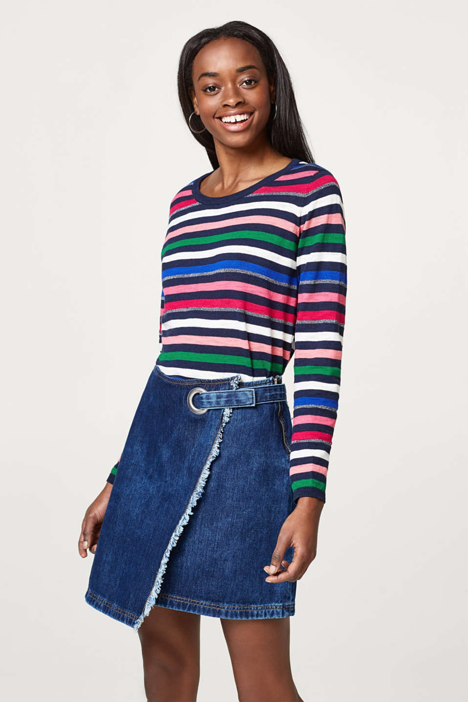 Esprit - Lightweight cotton jumper with glittery intarsia