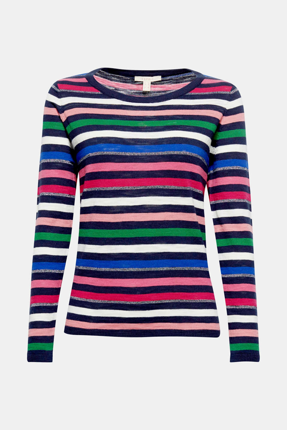 How about a touch of glitter? Great intarsia? And a lightweight cotton knit? Sounds just like spring to us!