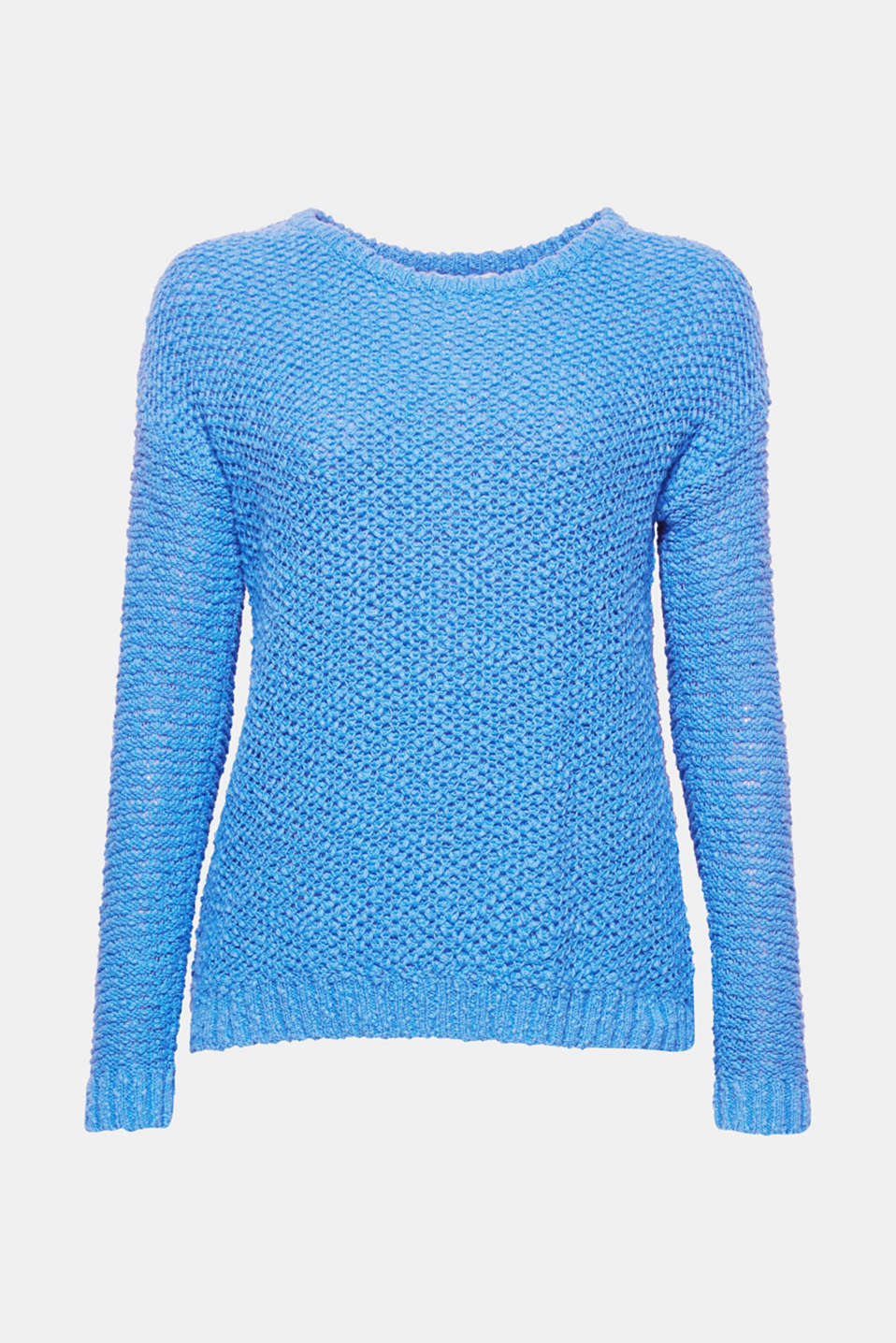 This simple jumper in pure cotton in new bouclé look with a clean cut will become your new favourite!