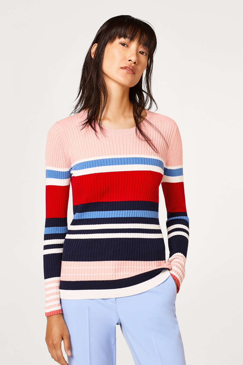 Esprit - Light cotton jumper with ribbed texture
