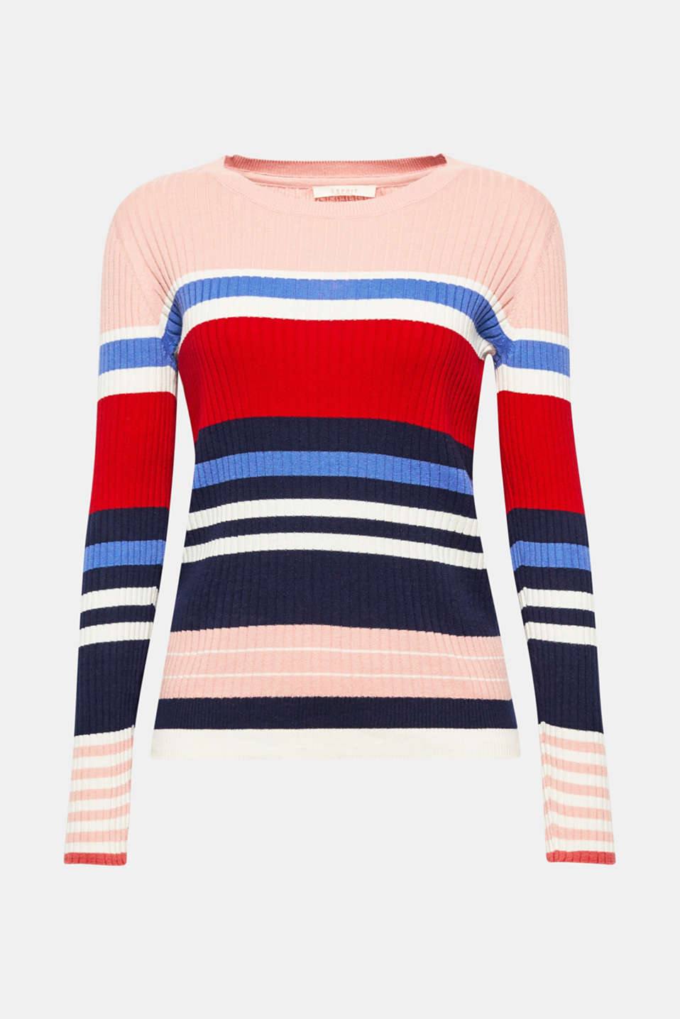 Clings to the body, wonderfully soft with colourful stripes: lightweight cotton jumper