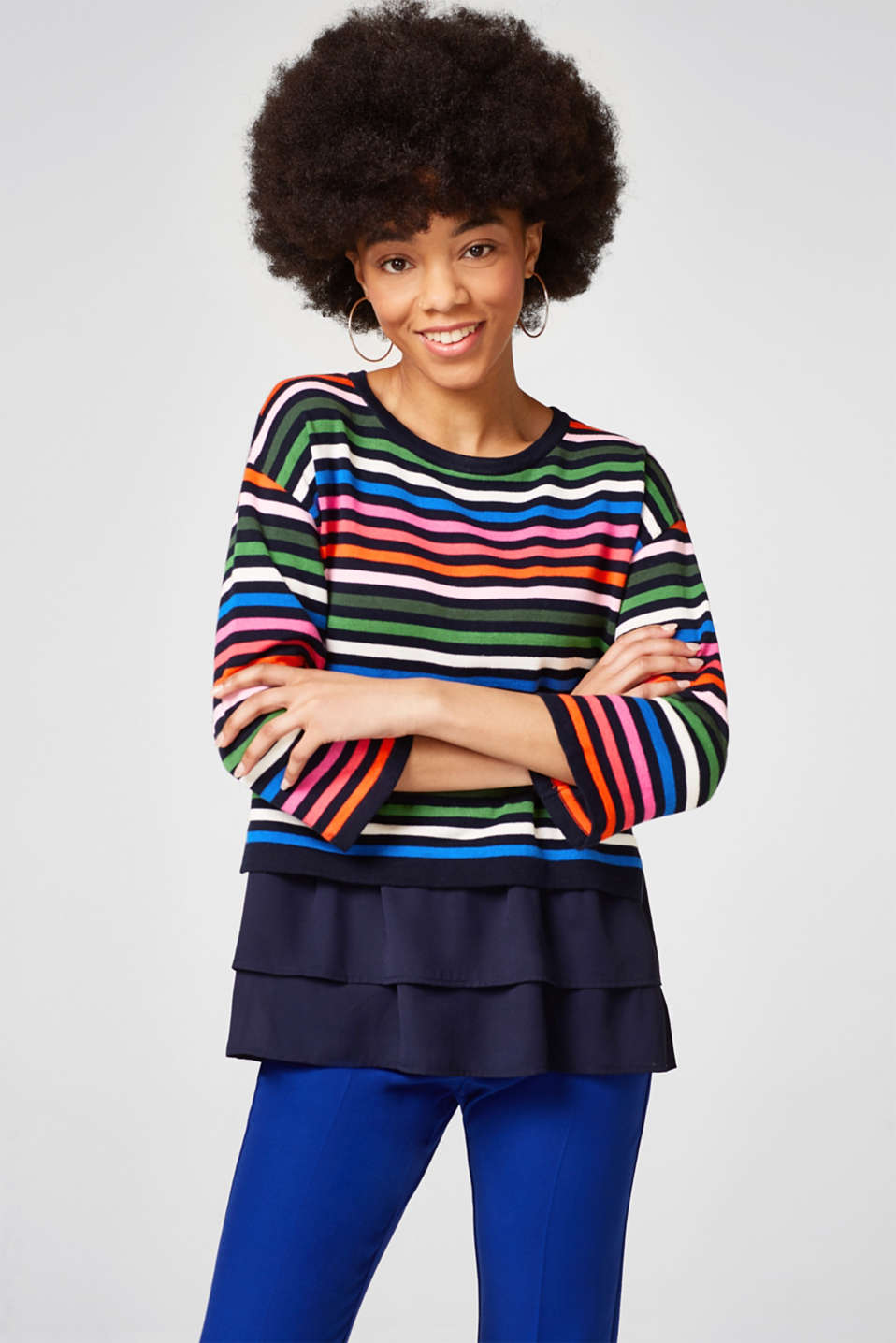 Esprit - Jumper with multi-coloured stripes and a chiffon hem