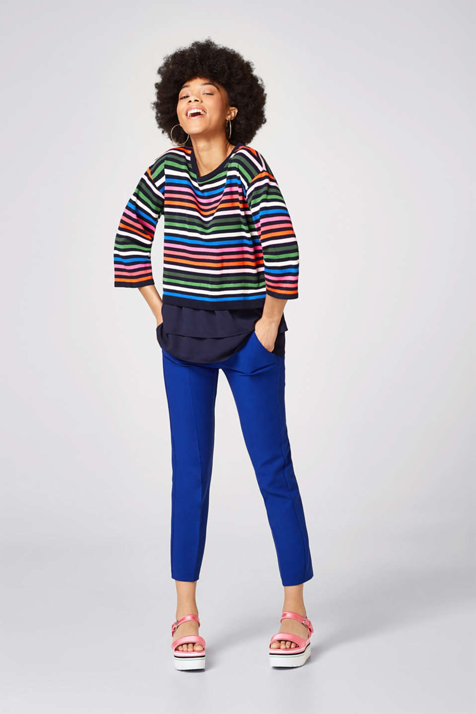 Jumper with multi-coloured stripes and a chiffon hem