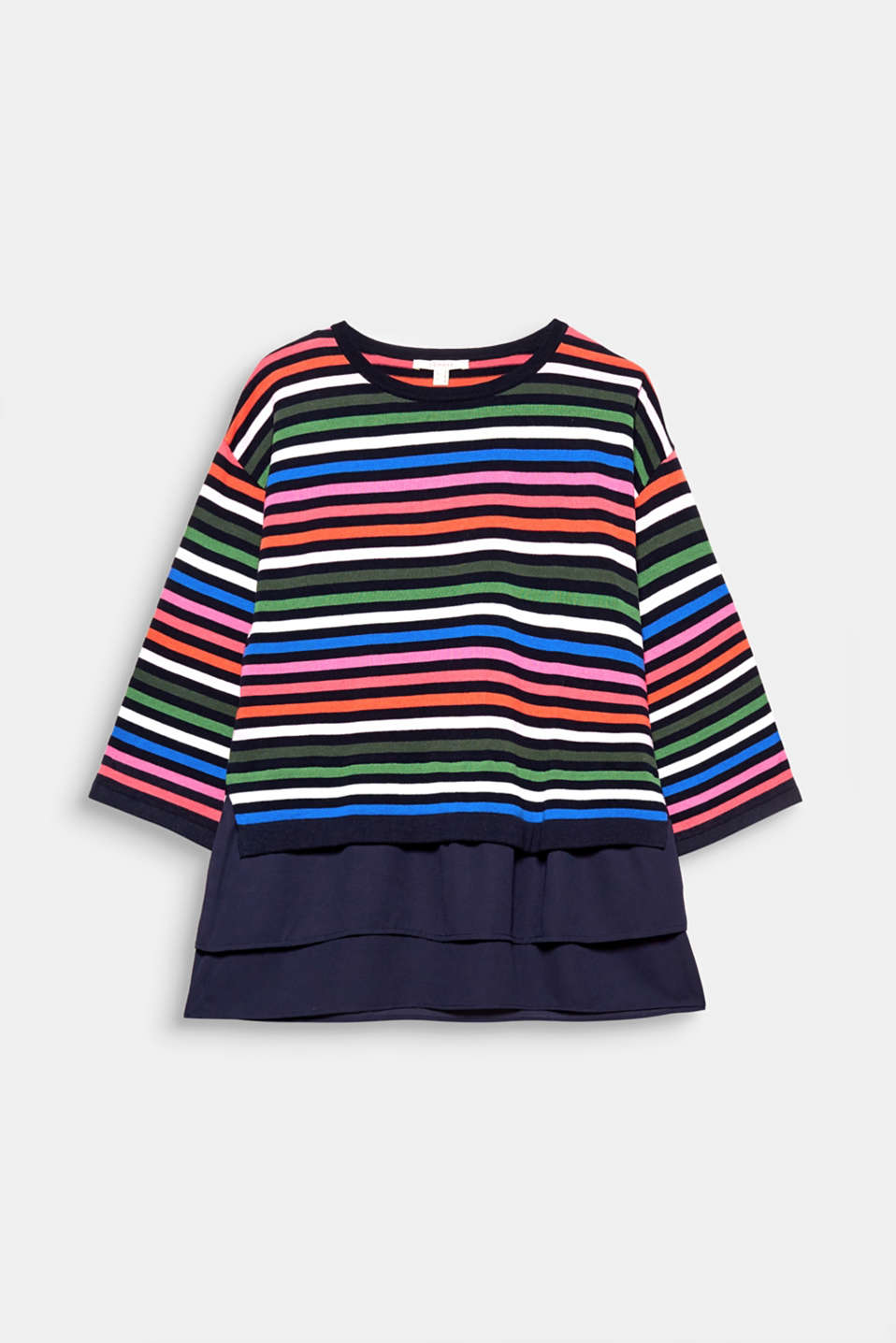 The layered chiffon hem gives this colourfully striped jumper in fine cotton an extra light feeling!