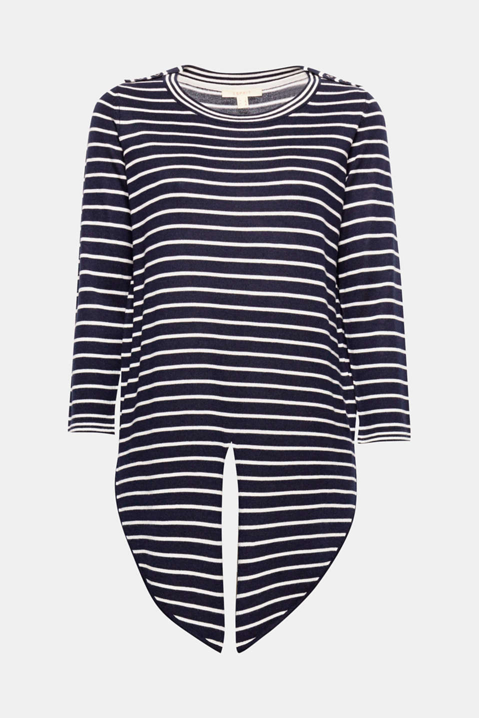 A striped look with a difference! This jumper wows with its front bow and subtle shoulder straps.
