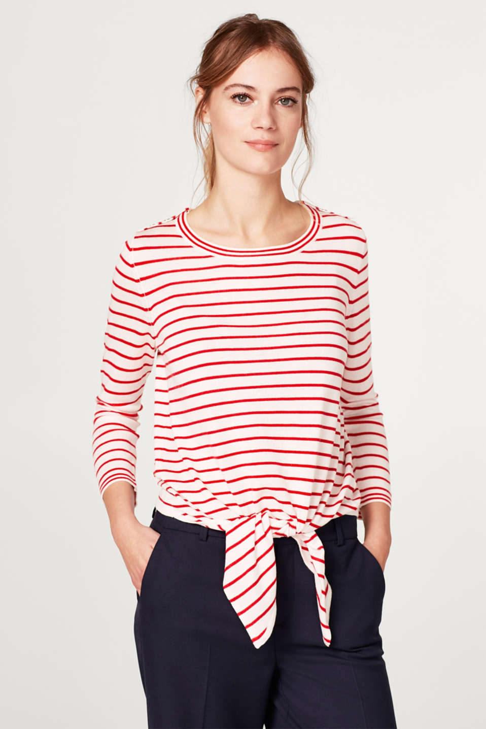 Esprit - Striped jumper with a bow detail