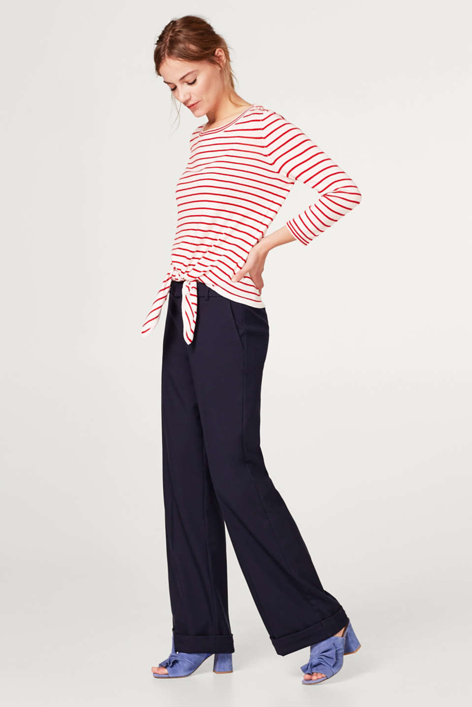 Striped jumper with a bow detail