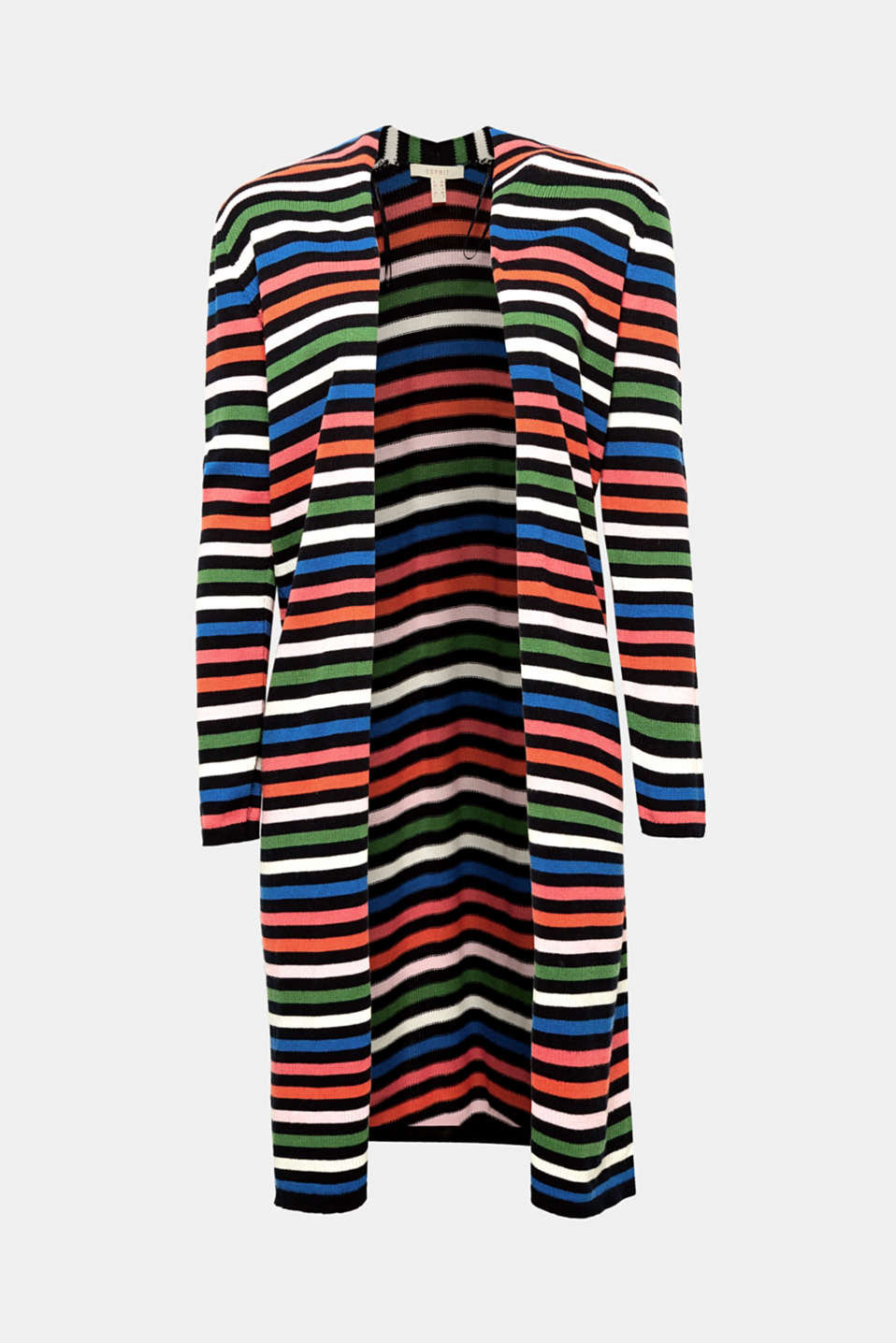 The multicoloured striped pattern and trendy long design make this open cardigan a great eye-catching piece.