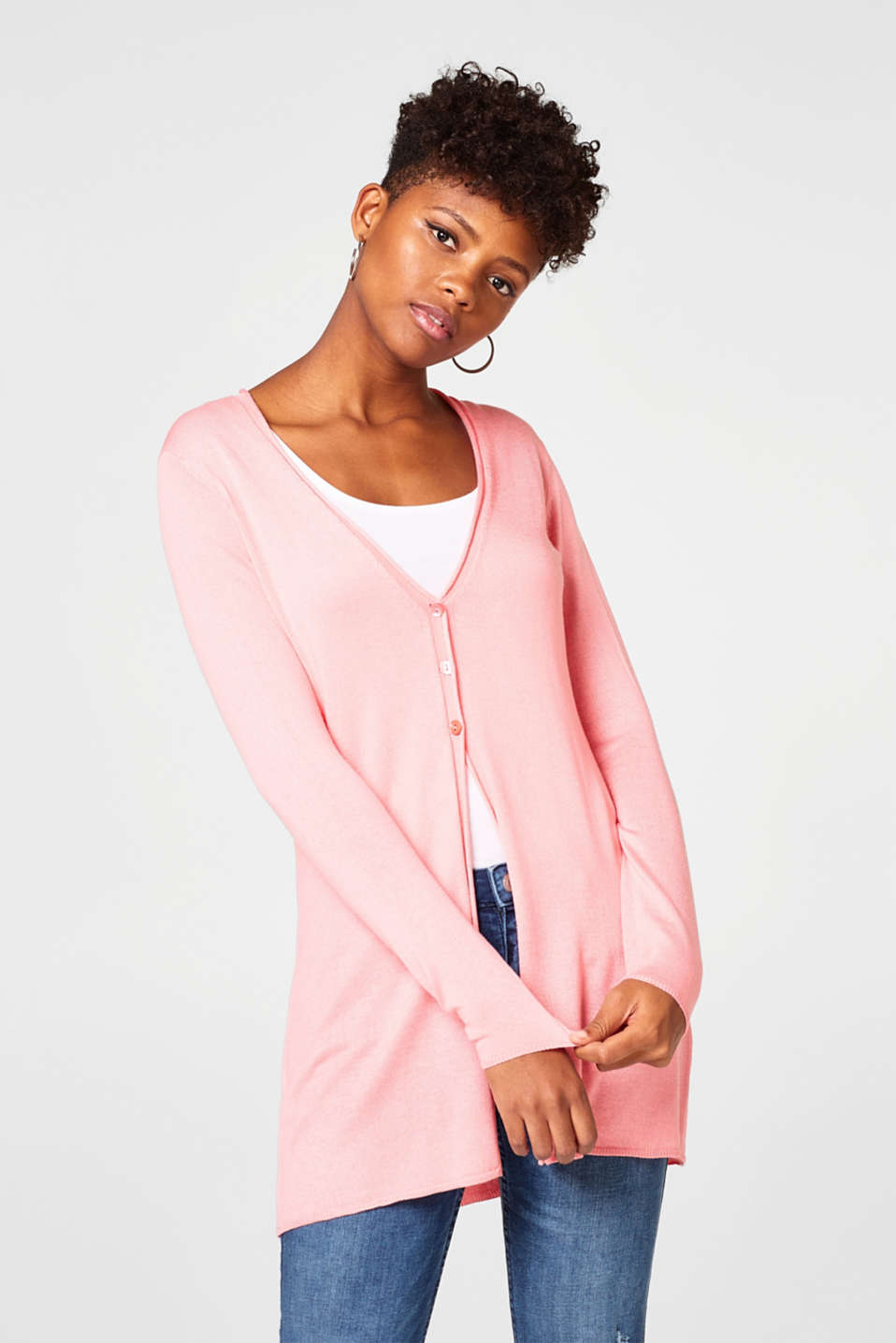 Esprit - Long fine knit cardigan in a feminine style