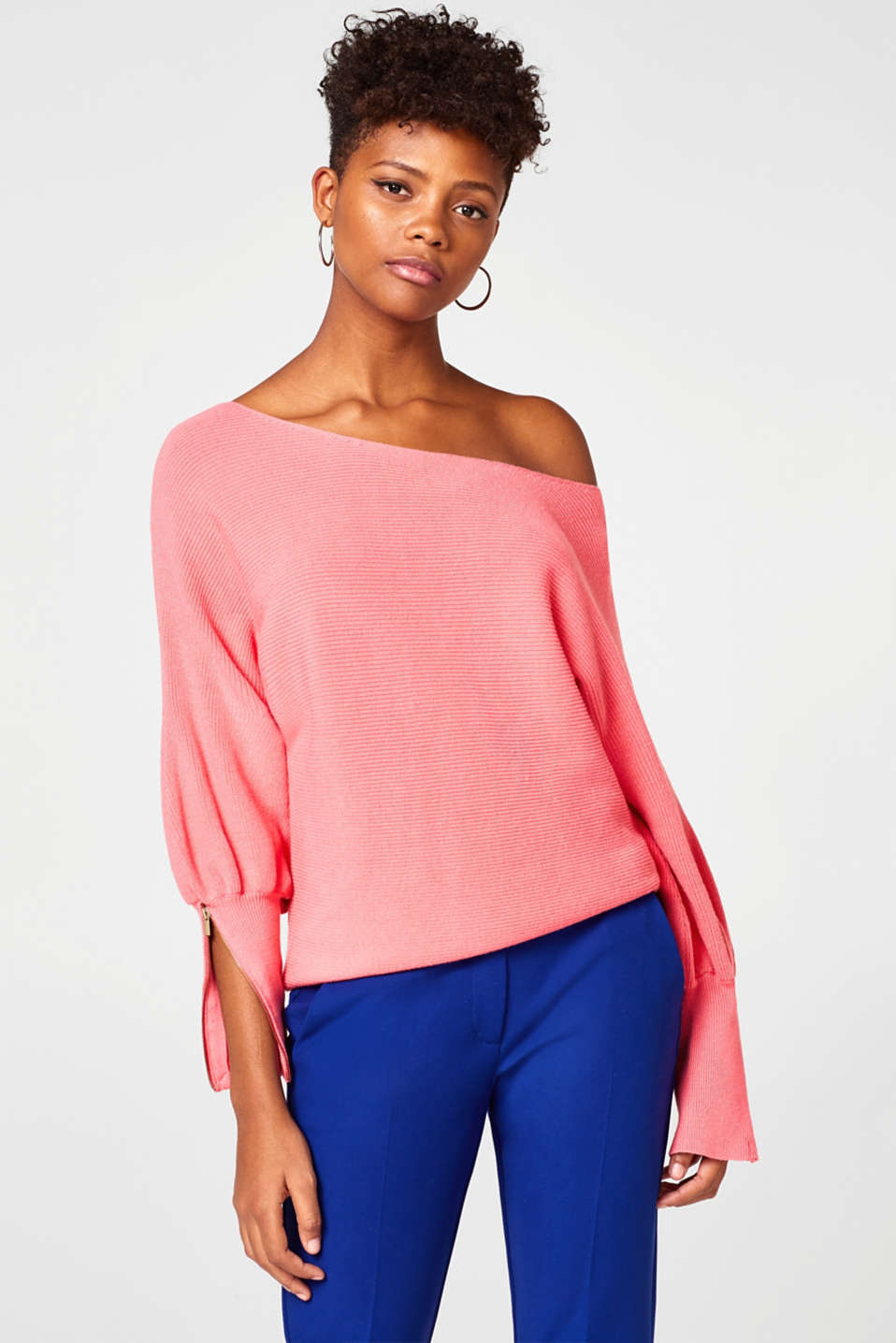 Esprit - Off-Shoulder-Sweater aus Rippenstrick