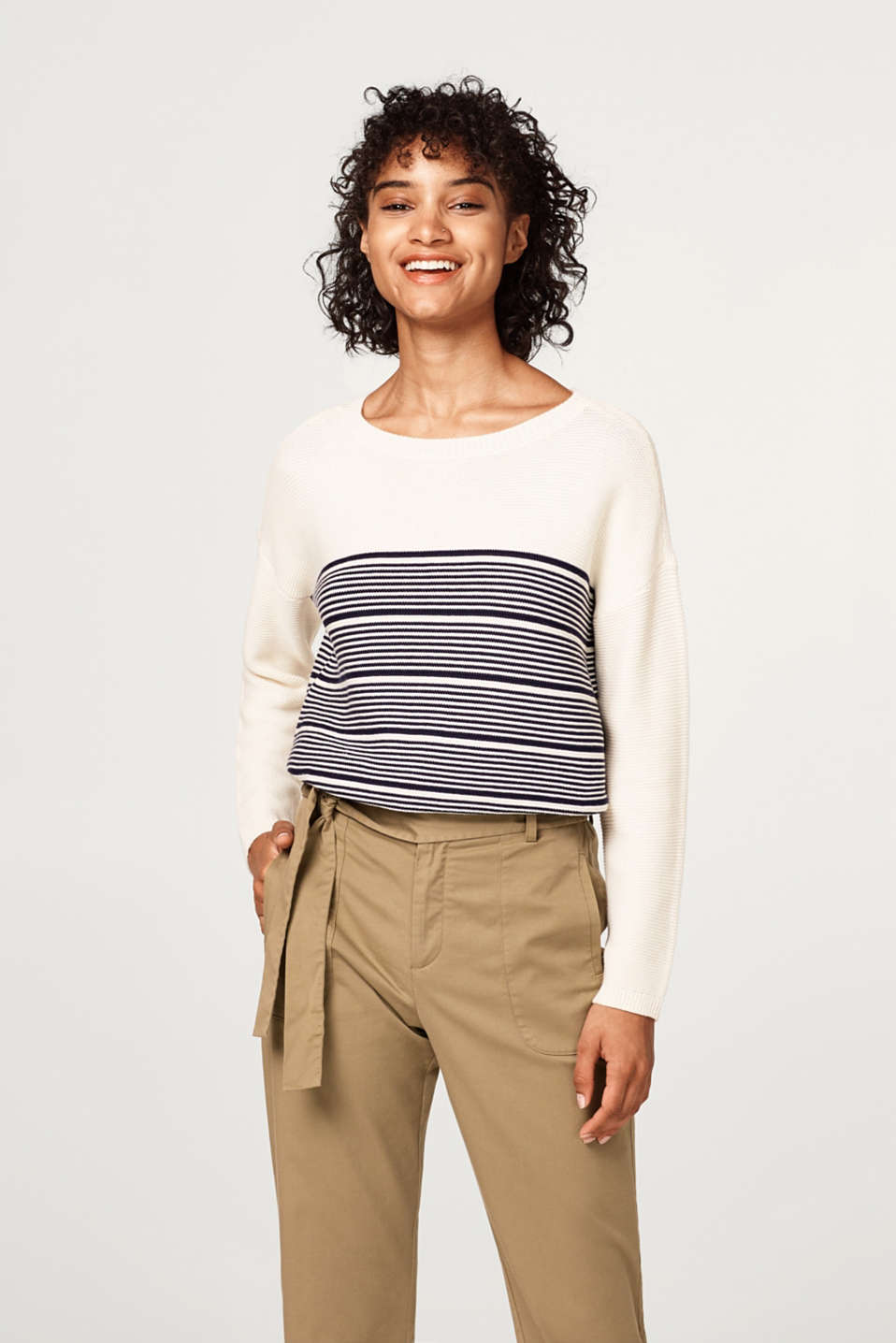 Esprit - Textured jumper in a new nautical style