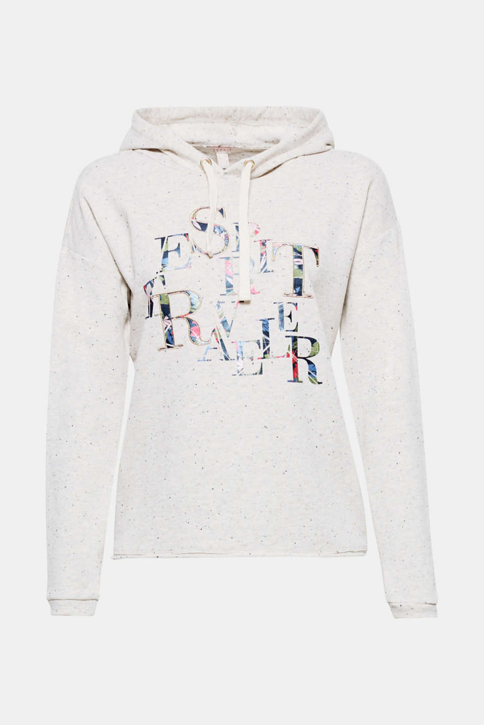 This sporty hoodie in lightweight, melange blended cotton creates a cheerful look with its glitter effects and decorative lettering!