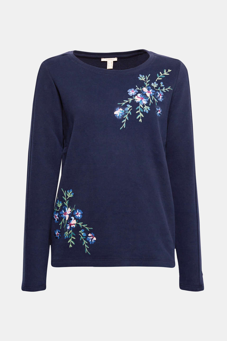 Sporty sweatshirt meets floral print and shimmering sequin embroidery – making it your new favourite piece guaranteed! Voilà!