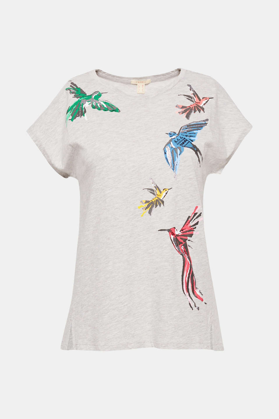 The colourful bird print with glitter makes this casual T-shirt an exciting eye-catching piece