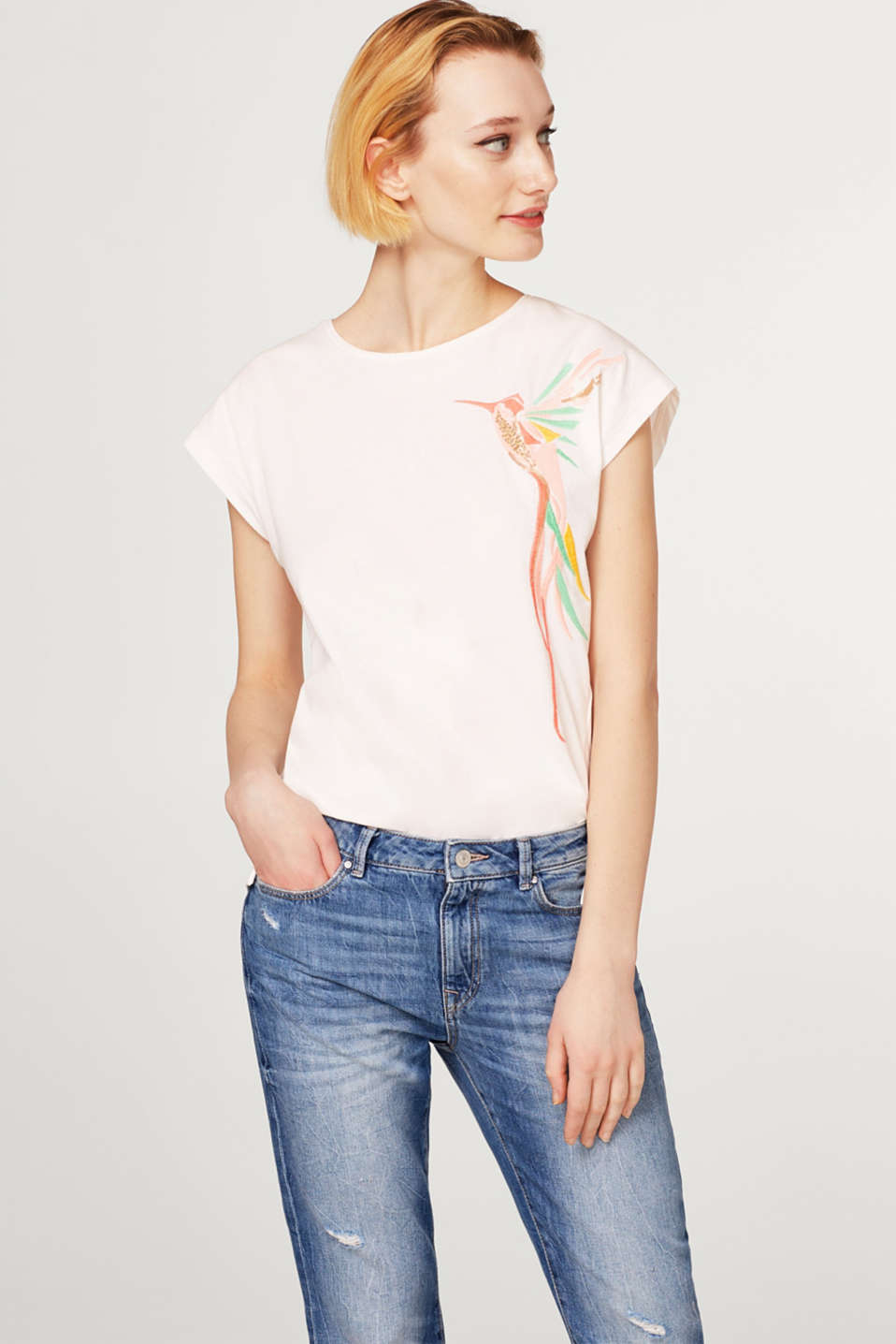 Esprit - Top with elegant embroidery, 100% cotton