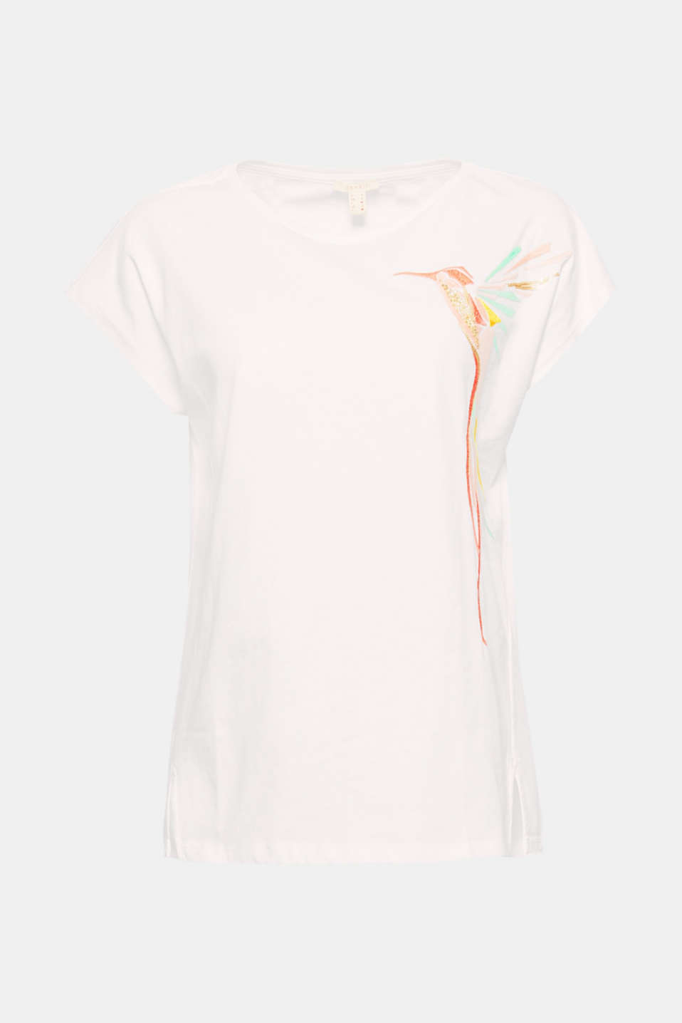 Highlight: an embroidered hummingbird with elegant sequins and beads make this top an eye-catching piece!